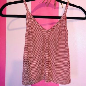 Red and White Stripe Crop Tank Top!